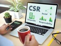 Korporacyjny odpowiedzialności społecznej CSR Responsib i trwałość zdjęcia stock