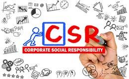 Korporacyjny odpowiedzialności społecznej pojęcia ręki rysunek na whiteboa obrazy royalty free