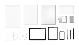 Korporacyjny oznakuje mockup szablon, biały tło fotografia royalty free