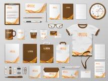 Korporacyjny Oznakuje tożsamość szablonu projekt Nowożytny materiały mockup dla sklepu z nowożytnym pomarańczowym kolorem długopi ilustracja wektor