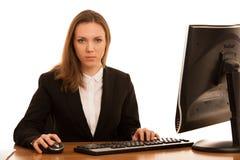 Korporacyjny portret młody piękny caucasian biznesowy womanwo zdjęcie royalty free