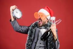Korporacyjny przyjęcie gwiazdkowe Czas świętuje zima wakacje Szefa Santa kapelusz świętuje nowego roku lub bożych narodzeń Boże N obrazy royalty free