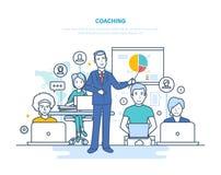 Korporacyjny trenowanie, szkolenie, nauczań ludzie biznesu, biznesowy uczenie, online edukacja ilustracja wektor