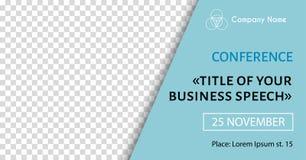 Korporacyjny zawiadomienie sztandaru szablon Wektorowa ulotka dla biznesowej konferencji Ogólnospołeczny medialny plakat ilustracja wektor