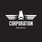 Korporation - Eagle Logo Sign i klassisk grafisk stil Royaltyfri Foto