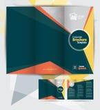 Korporative dreifachgefaltete Geschäfts-Broschüren-Design-Schablone Stockfotografie