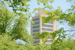 Korporativer hoher Aufstieg hinter Bäumen Lizenzfreie Stockbilder