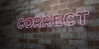 KORREKT - Glühende Leuchtreklame auf Steinmetzarbeitwand - 3D übertrug freie Illustration der Abgabe auf Lager stock abbildung
