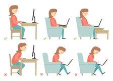 Korrekt och oriktig aktivitetsställing i daglig rutin - sammanträde och arbete med en dator 2d teckenpixelizationkvinna Arkivbilder