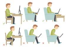 Korrekt och oriktig aktivitetsställing i daglig rutin - sammanträde och arbete med en dator Manharacter Arkivfoton