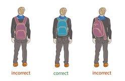 Korrekt und falsch, einen Rucksack tragend Auch im corel abgehobenen Betrag vektor abbildung