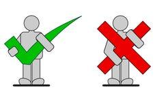 Korrekta och fel symboler Arkivfoton