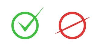 Korrekta och oriktiga symboler Riktigt och falskt tecken vektor stock illustrationer
