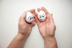 Korrektes Nahrungskonzept Lustige Eier Stockbild