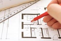 Korrektur auf einem floorplan Stockfoto