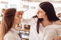 Korrektur der Augenbrauenpinzette, Augenbrauenhennastrauchmalerei lizenzfreies stockfoto