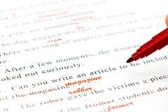 Korrekturhilfe auf englischen Sätzen Lizenzfreie Stockfotos