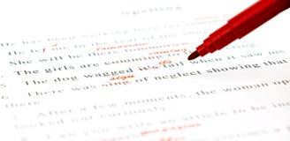 Korrekturhilfe auf englischen Sätzen Lizenzfreies Stockbild