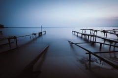 Korreleffect van een vissershaven Stock Afbeelding