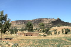 Korrelgebieden en landbouwbedrijven in Ethiopië stock afbeeldingen