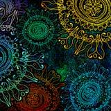 Korrelig, bloemenornament op gekleurde achtergrond Royalty-vrije Stock Afbeelding