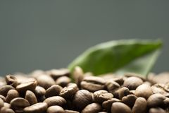 Korrels van koffie op een donkere achtergrond royalty-vrije stock afbeeldingen