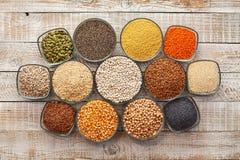 Korrels, zaden en noteninzameling - de gluten vrije alternatieven royalty-vrije stock afbeeldingen