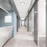 Korridor av modern kontorsbyggnad Arkivfoto