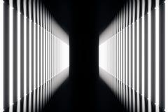 korridor för abstrac för tolkning 3D futuristisk mörk med neonljus Glödande lampa futuristic arkitekturbakgrund Arkivfoto