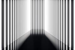 korridor för abstrac för tolkning 3D futuristisk mörk med neonljus Glödande lampa futuristic arkitekturbakgrund Arkivbild
