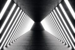 korridor för abstrac för tolkning 3D futuristisk mörk med neonljus Glödande lampa futuristic arkitekturbakgrund Royaltyfri Bild
