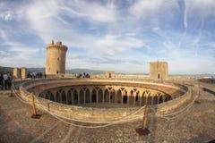 Korridor för Bellver slottöverkant Arkivbild