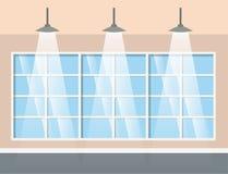 Korridorbyggnad med att hänga för lampor vektor illustrationer