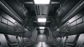 Korridorer för rymdskepp för science fiction för vetenskapsbakgrundsfiktion inre framförande, tolkning 3D royaltyfri illustrationer