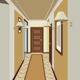 Korridorinrebakgrund Design av den gamla korridoren Hallillustration Arkivbild