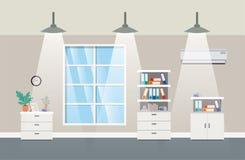 Korridorkontor med att hänga för lampor vektor illustrationer