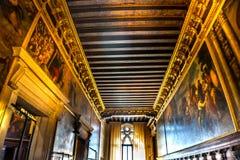 Korridormålningar Palazzo Ducale Doge& x27; s-slott Venedig Italien Royaltyfri Bild