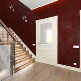 Korridortüren und hölzernes Treppenhaus Stockfoto
