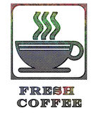 Korrodiertes Metall des Kaffeezeichens Lizenzfreies Stockfoto
