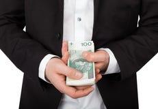 Korruption i affären - polska pengar royaltyfri bild