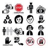 Korruption, inga mutor och gåvor, fördärvade affärsmansymboler ställde in vektor illustrationer