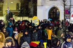 Korruptionsbekämpfungs- Protest in Bukarest Stockfotografie