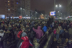 Korruptionsbekämpfungs- Proteste in Bukarest am 22. Januar 2017 Stockbilder