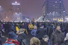 Korruptionsbekämpfungs- Proteste in Bukarest am 22. Januar 2017 Lizenzfreies Stockfoto