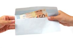 Korruptionskonzept mit Umschlag, Geld Stockbild
