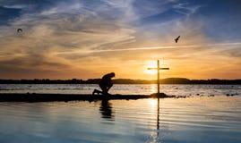 Kors för blått vatten Arkivfoto