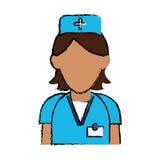 Kors för hatt för klinik för omsorg för tecknad filmsjuksköterskapersonal enhetligt Arkivbilder