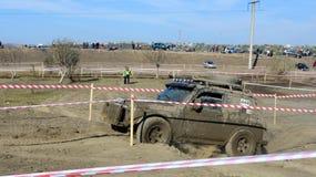 Kors 4x4 för Moldavien Ohei jeepförsök Fotografering för Bildbyråer