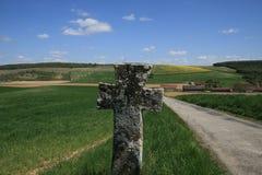 Kors för St Geneviève i Bionval, Normandie Arkivbilder