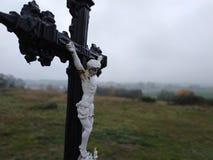 Kors i södra tjeck med landskap royaltyfria bilder
